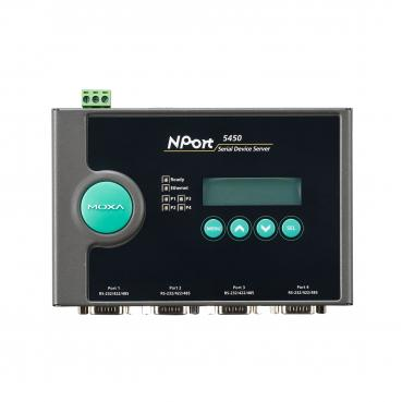 4-port RS-232/422/485 device server with DB9 connectors, 12-48VDC power input,