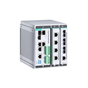 Compact managed Ethernet switch system with 2 slots for 4-port fast Ethernet in