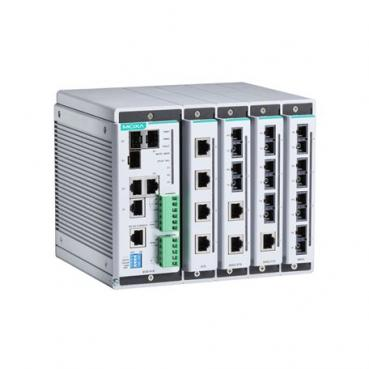 Compact managed Ethernet switch system with 4 slots for 4-port fast Ethernet in