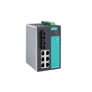 Industrial Managed Ethernet Switch with 6 10/100BaseT(X) ports, 2 single mode 1