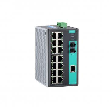 Industrial Unmanaged Ethernet Switch with 14 10/100BaseT(X) ports, 2 single mod