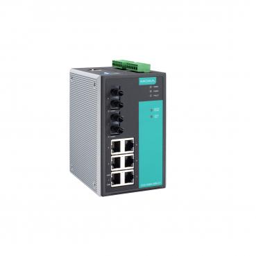 Managed Ethernet switch with 6 10/100BaseT(X) ports, and 2 100BaseFX multi-mode