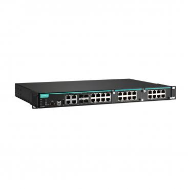 Modular managed Ethernet switch with 8 10/100BaseT(X) PoE/PoE+ ports, 4 10/100/