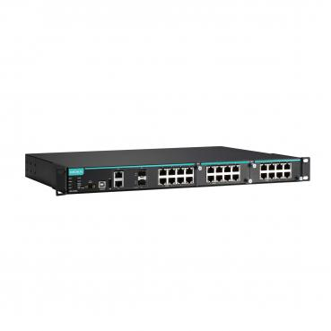 Modular managed Ethernet switch with 8 10/100BaseT(X) ports, 2 10/100/1000BaseT