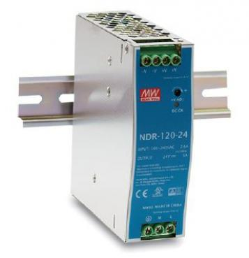 NDR-120-24, Mean Well 120 W/5.0 A DIN-rail 24 VDC power supply