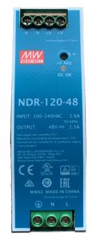 NDR-120-48, Mean Well 120 W/2.5 A DIN-rail 48 VDC power supply